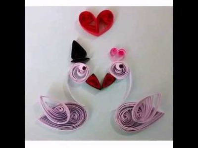 Paper quilling easy valentine's Day greeting card