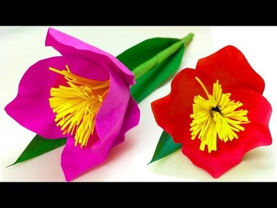 Tulip paper easy for kids step by step. diy paper flowers. gift for mom with paper for women's day