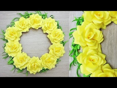 Wall Decoration Ideas | Beautiful Wall Hanging Making at Home | Paper Flower Wall Hanging Е
