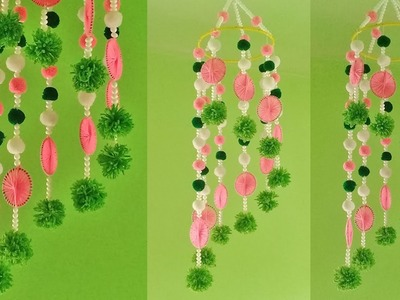 Wall Hanging Ideas With Woolen | DIY Hanging Jhumar | How To Make Hanging For Room Decor