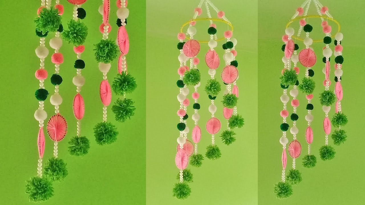 Wall Hanging Ideas With Woolen   DIY Hanging Jhumar   How To Make Hanging For Room Decor
