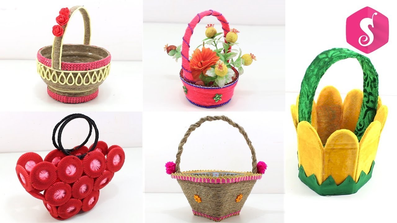 5 Basket Crafts ideas from Waste Things | Use Full DIY Basket