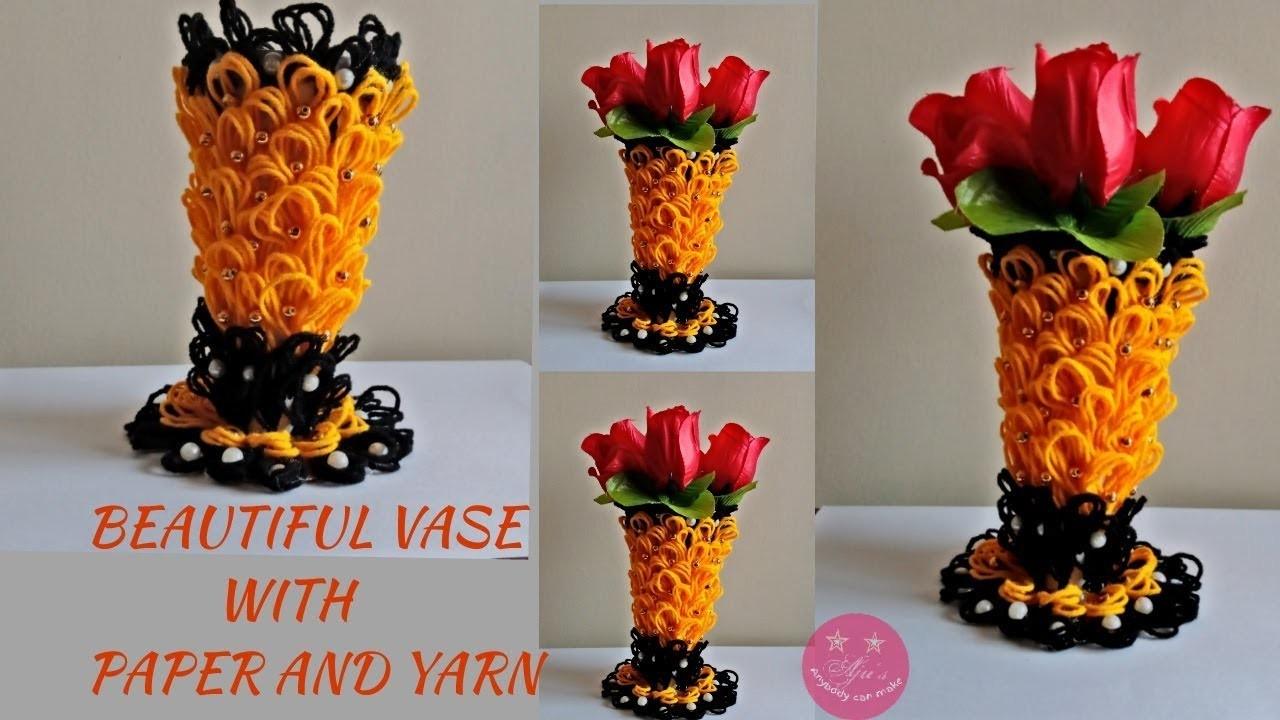 Beautiful vase using paper and yarn.wool | Paper vase | woolen vase | Carton box craft