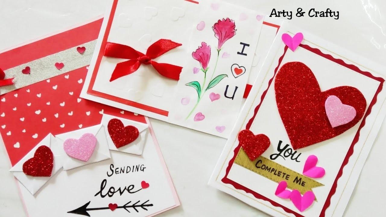 DIY 3 Valentine Card.Easy Valentine Card Ideas. DIY Handmade Valentine Gift Idea by Arty & Crafty