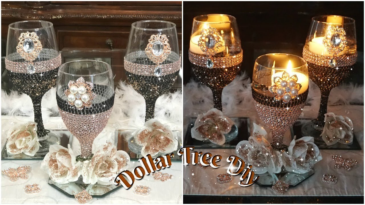 Diy Dollar Tree Bling Candle Holder Glam Wedding Centerpiece Ideas 2019