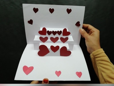 DIY- Easy lovely pop up card | Hearts popup card