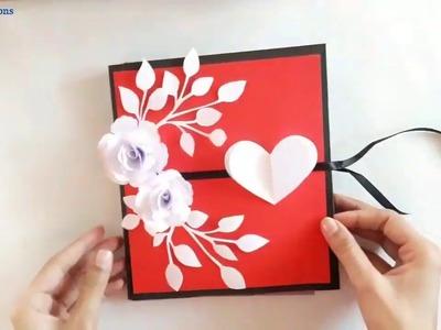DIY Multi fold Scrap Card for Valentine's day    scrap card idea    multi fold card idea