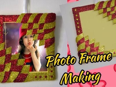 DIY Photo frame making using glitter foam sheets and cardboard