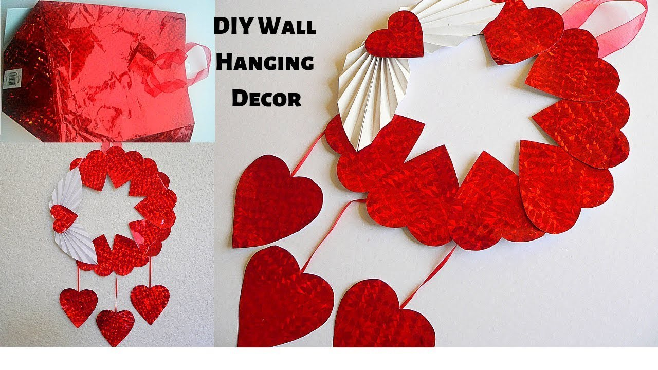 DIY Wall Hanging.Wall Decor Door.Best out of Waste Using Old Gift Bag.Paper Craft Ideas Room Decor