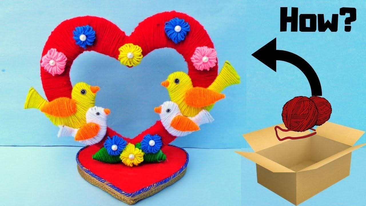 DIY Woolen Love Bird Showpiece. Valentines Day Gift ideas 2019. Heart Showpiece