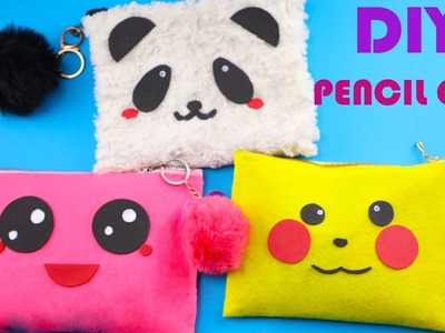 Easy DIY NO-SEW Fluffy Pencil Case or Make Up Bag!Kawaii pencil case tutoria!