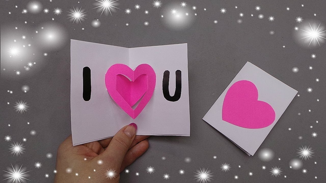 Easy Valentine's day card. DIY Valentine's day heart pop-up card - Greeting card - Gift idea.