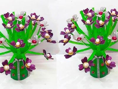 Guldasta with Glitter foam flower from plastic bottle at home | DIY Foam Flower Guldasta