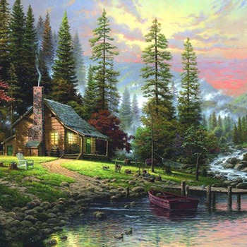 CRAFTS Kinkade A Peaceful Retreat Cross Stitch Pattern***LOOK**