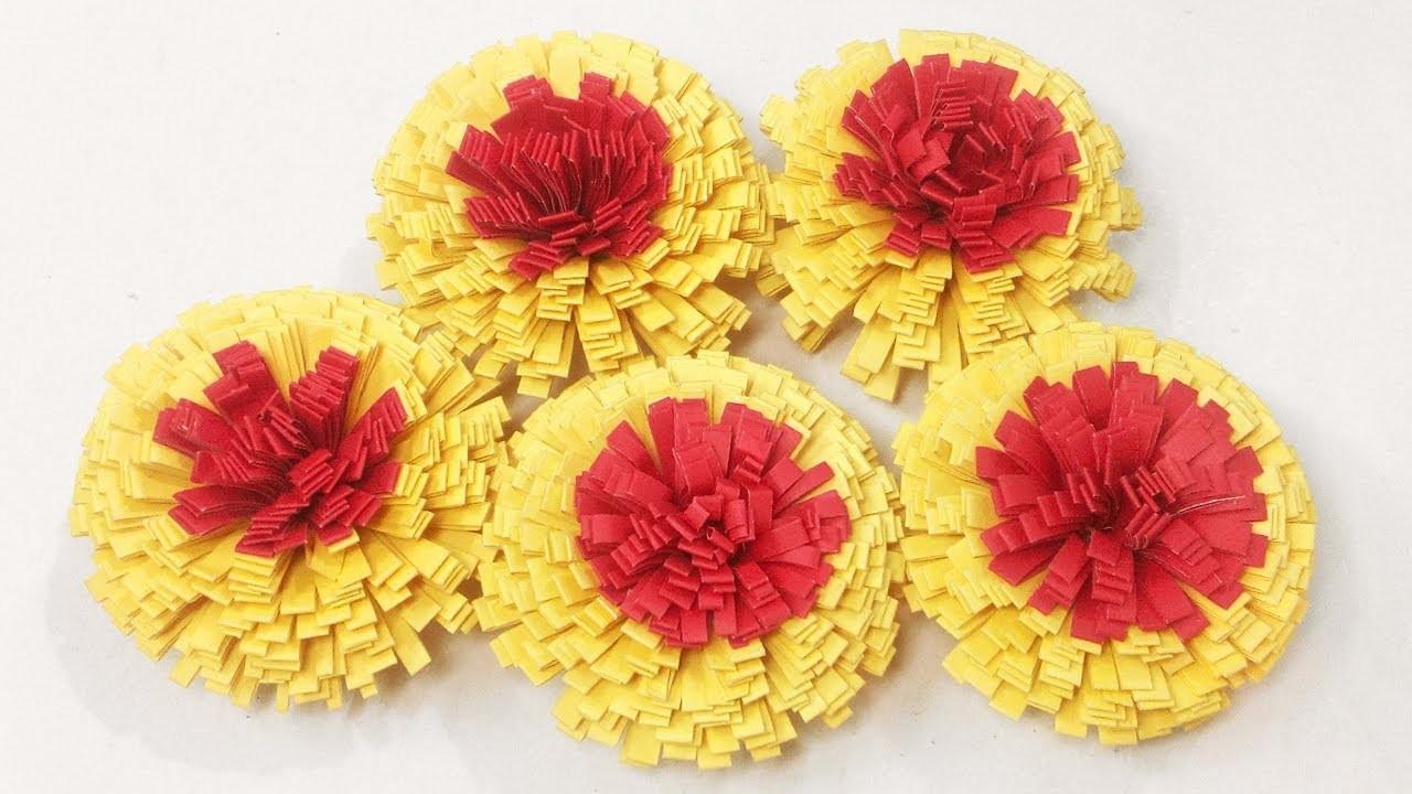 4 How To Make Marigold Flower Marigold Paper Flower Craft Ideas 4