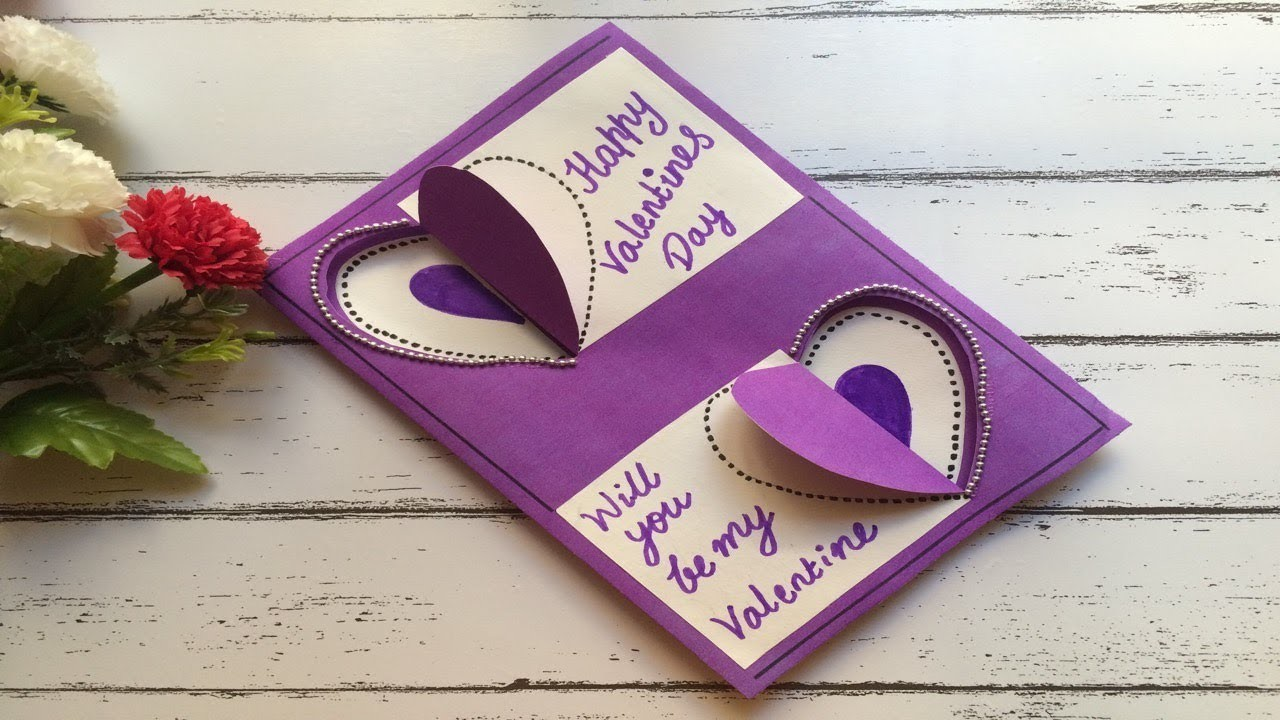 Beautiful Valentine's Day greeting card handmade designs easy 2019.3D hearts card simple & unique