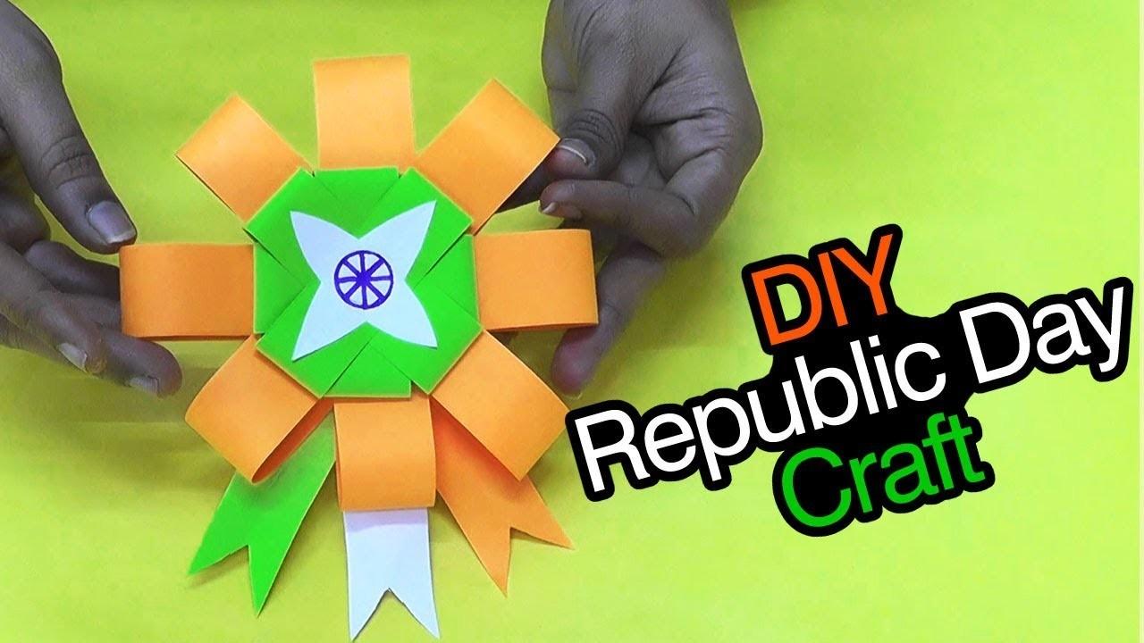 DIY Republic Day Badge.Indian Tricolor Flag Badge.26th Jan craft ideas