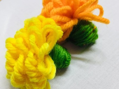 Hand Embroidery Amazing Trick For Marigold Flower l sewing hack l easy flower embroidery trick