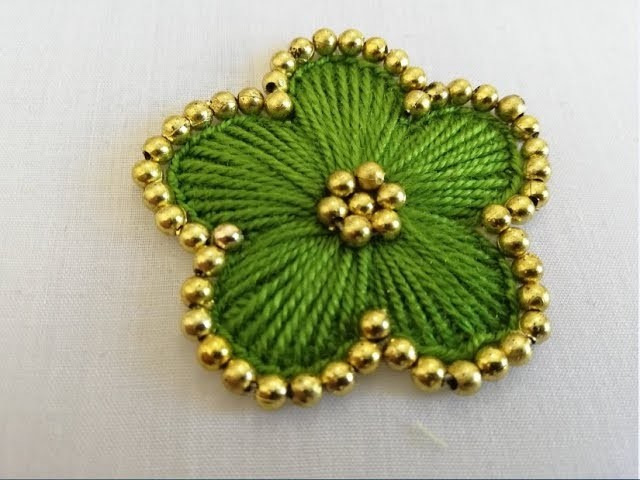Hand embroidery;beautiful flower embroidery with beads.