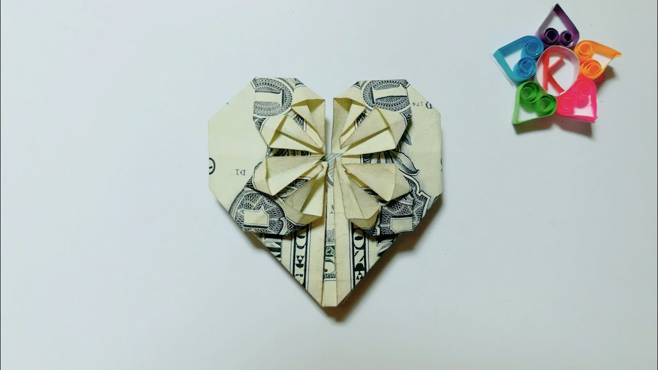 Heart of One Dollar How to make Origami Heart with money