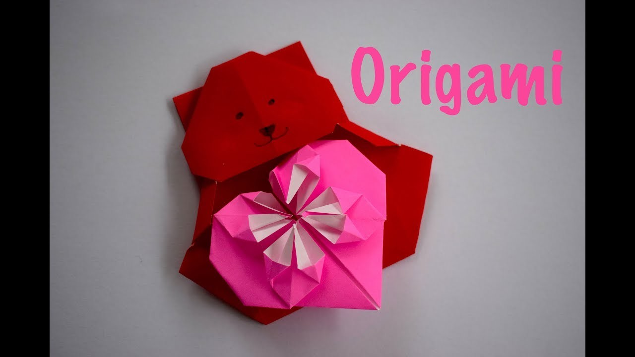 How to Make a Cute Origami Teddy Bear and Heart   Valentine's Day