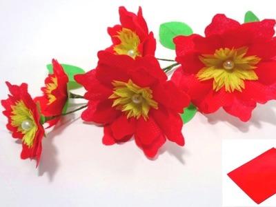 Making Shopping Bag Flowers || Handmade Flower Making Using Waste disposable Bag || DIY Decor Idea