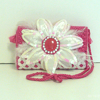 Pink & White Floral Clutch