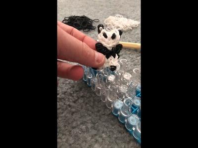 Rainbow loom cute panda charm tutorial