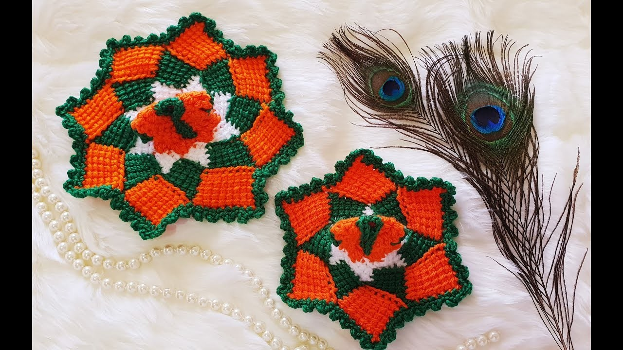 Tri-Colour Crochet Dress for Kanhaji   Bal Gopal Crcohet Dress   Laddu Gopal Crochet Dress (0, 1 no)