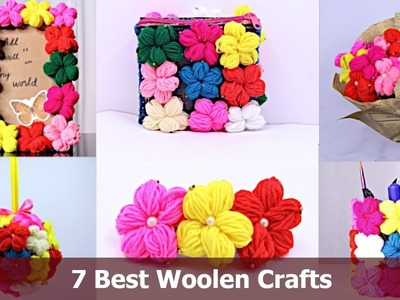7 Best out of waste woolen Craft ideas | DIY Room Decor |  Woolen Wall Hanging | Aloha Crafts
