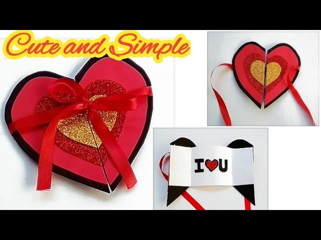 Cute and Simple Valentine's Day Card#Handmade Valentine Day Card making idea#Heart valentine  card