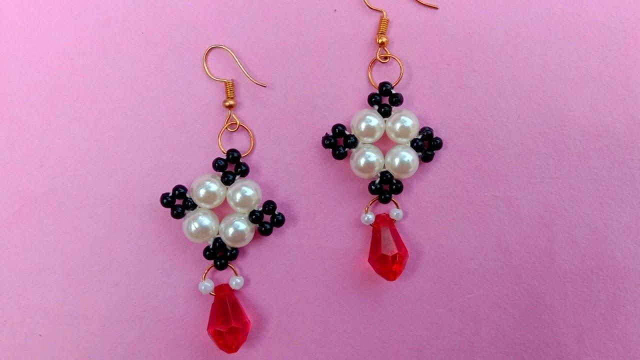 Earrings tutorial. for beginners. jewellery making. step by step. beaded. earring