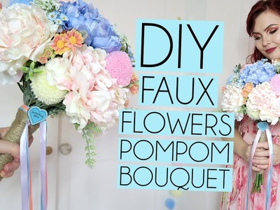 EASY HOW TO DIY FAUX FLOWER POMPOM BOUQUET
