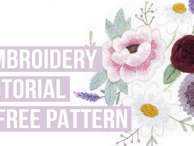 FLORAL EMBROIDERY PATTERN TUTORIAL - start to finish easy beginner embroidery | INFO IN DESCRIPTION