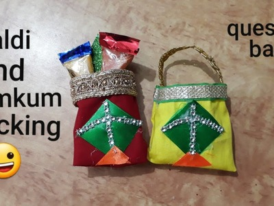 Haldi and kumkum packing idea | DIY pouch for haldi and kumkum packing | question bank