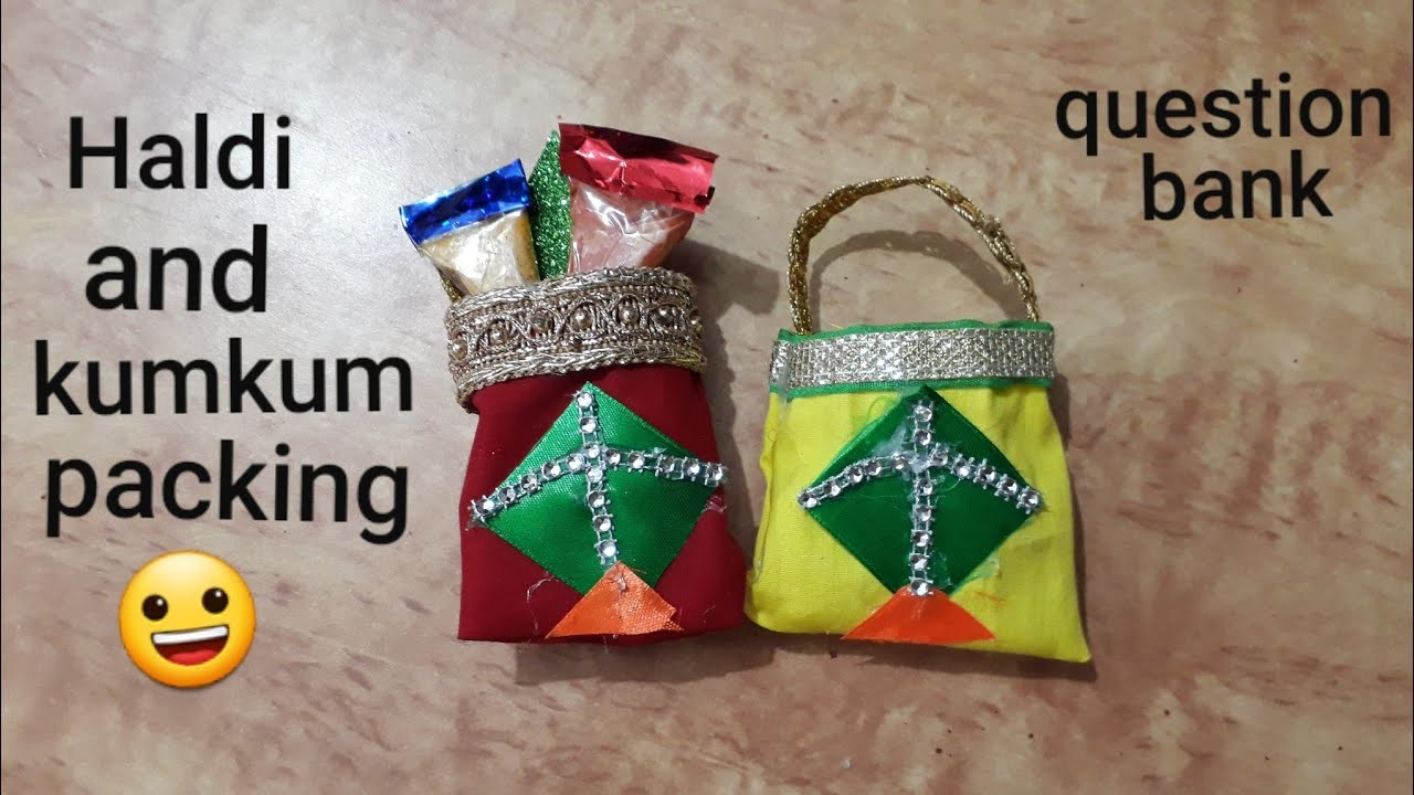 Haldi and kumkum packing idea   DIY pouch for haldi and kumkum packing   question bank