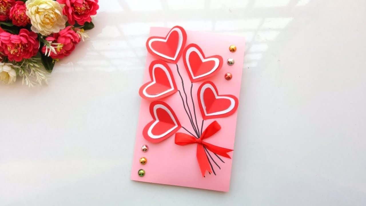 Handmade card for Valentines day pop up card idea  | tutorial