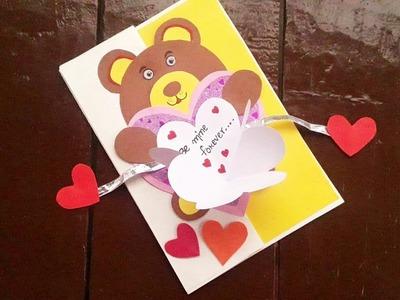 Handmade Teddy bear greeting card ????????.Teddy bear card for boyfriend. girlfriend