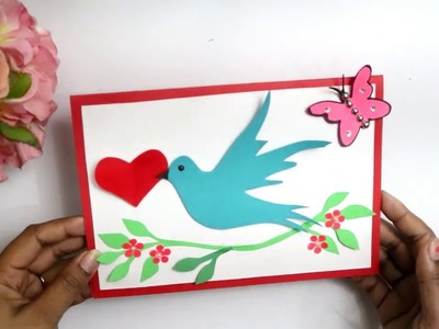 Handmade Valentines day card | Greeting card with bird and heart| Love card ideas