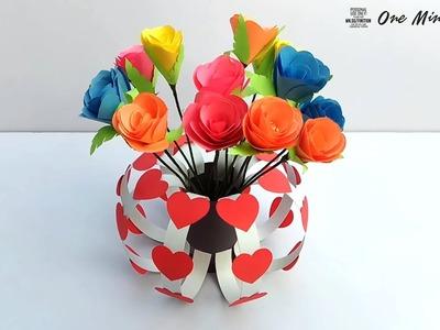 How to Make Easy Paper Flower Vase | Best Handmade Gift Ideas
