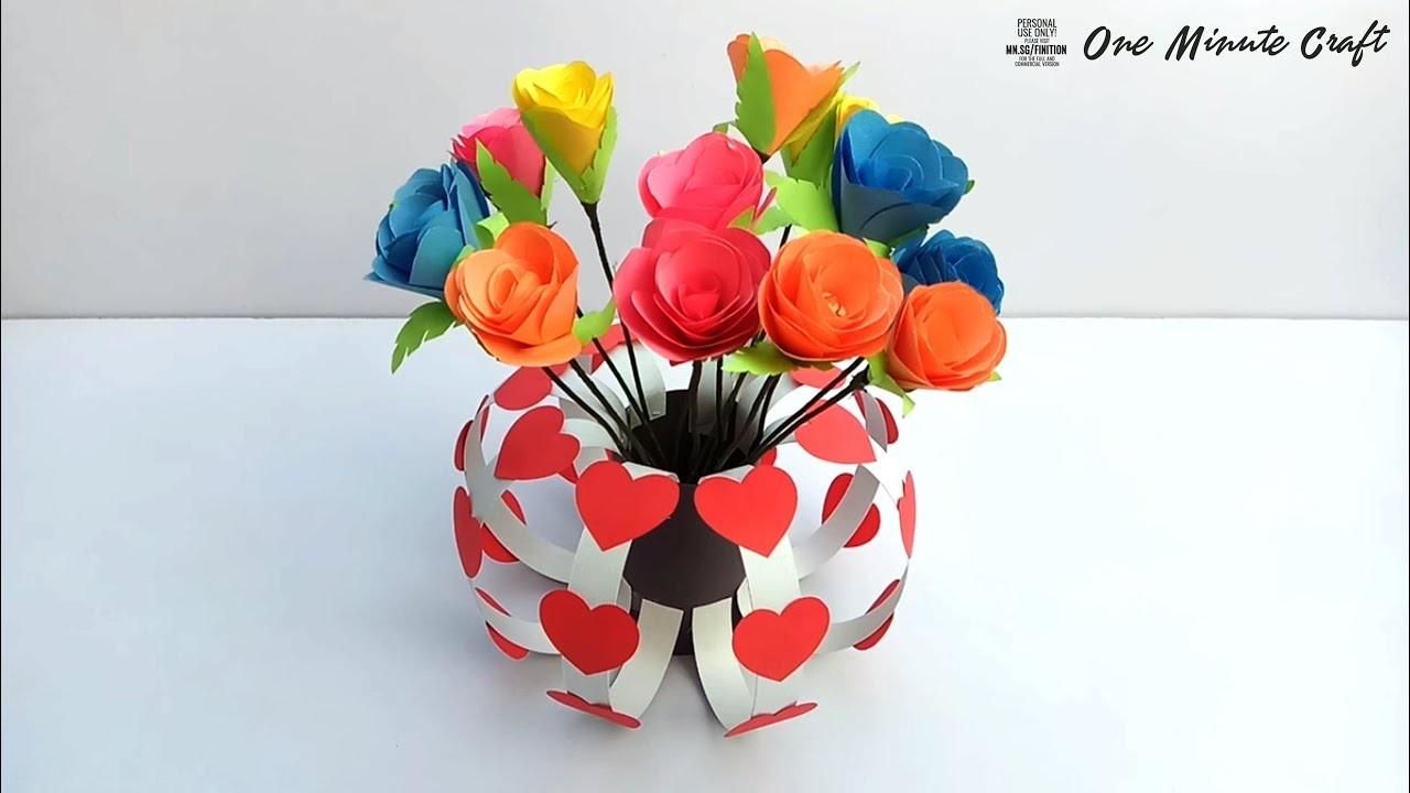 How to Make Easy Paper Flower Vase   Best Handmade Gift Ideas