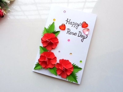 How to make handmade rose day card. greeting cards ideas