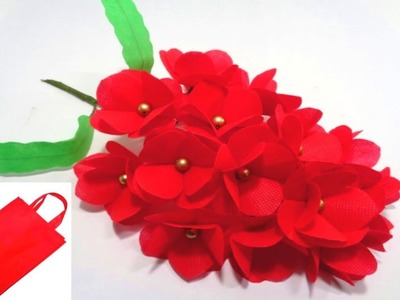 How to Make Red Shopping Bag Flowers || DIY Making Very Easy Shopping Bag Flowers Bunch