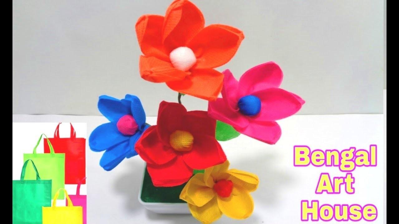 Making Shopping Bag Flowers - DIY Recycle Shopping Bag Flowers Making Idea - Making Flower  bunches