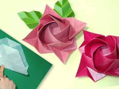 Origami ROSE - Kawasaki rose - EASY tutorial - TRANSPARENT paper.