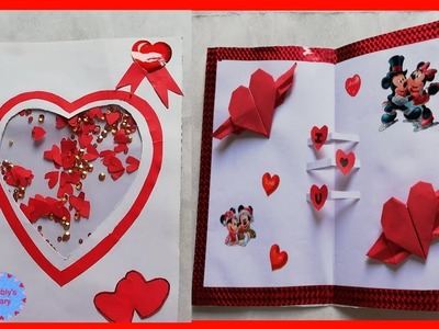 Special Handmade Valentines day card - shaker card