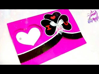 Valentine's day Card making| Handmade paper cards| Love greeting card| card tutorial| Queen's home