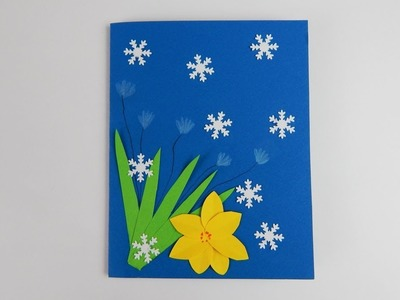 Winter card with flowers DIY scrapbooking Winterkarte mit Blumen
