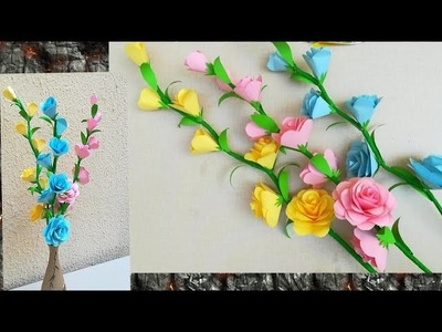 How To Make Paper Rose.Home Decoration.Easy Paper Flowers - Malayalam