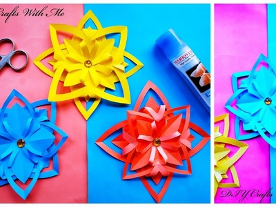 Paper Flowers.Colour Paper Flowers.Snowflake.Crafts Origami.Easy Crafts❤